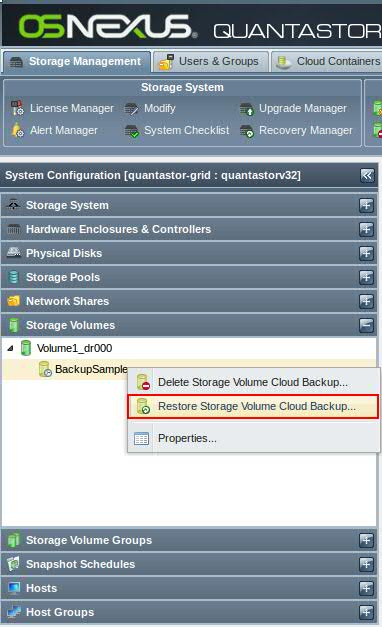 Quantastor Restore Cloud Backup